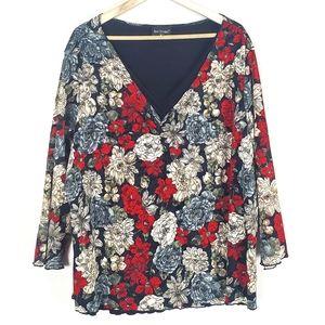 Bay Studio Plus Size Floral Top Size 2X